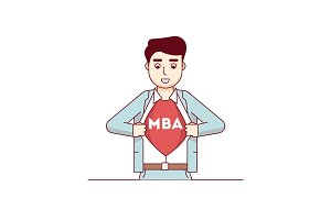 MBA student showing letters on his chest