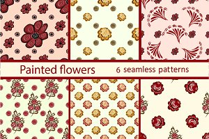 Set berries flowers seamless pattern