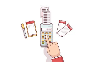 Business clerk making expense calculations