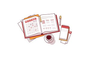Businessman morning day schedule notebook