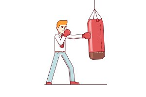 Standing business man hitting punching bag hard