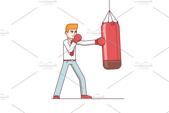Standing Business Man Hitting Punching Bag Hard