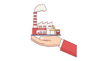 Businessman hand holding factory building for sale