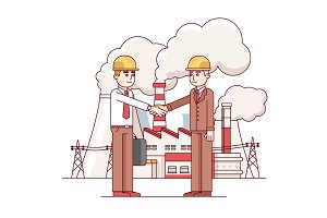 Business man and engineer shaking hands