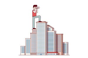 Successful business man standing at skyscraper top
