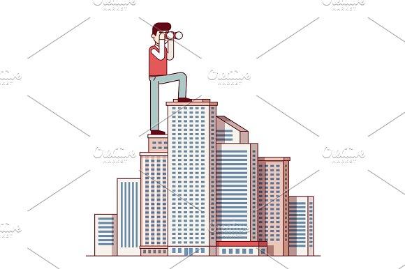 Successful Business Man Standing At Skyscraper Top
