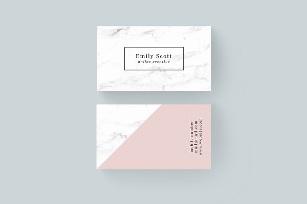Pink Marble Creative Business Cards