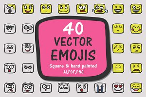 40 vector square emojis (Faces)