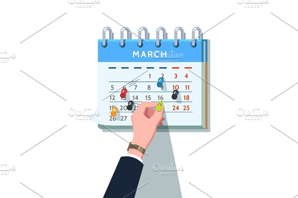 Businessman Sticking Push Pin Into Month Schedule