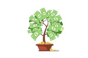 Growing money tree. Green cash banknotes and coins