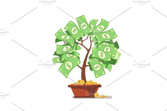 Growing Money Tree Green Cash Banknotes And Coins