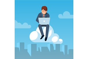 Businessman flying in the sky and working