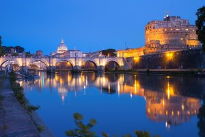 Saint Angel castle and bridge, Rome, Italy