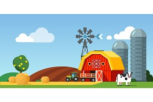 Farm field and meadow scenery, cow and tractor