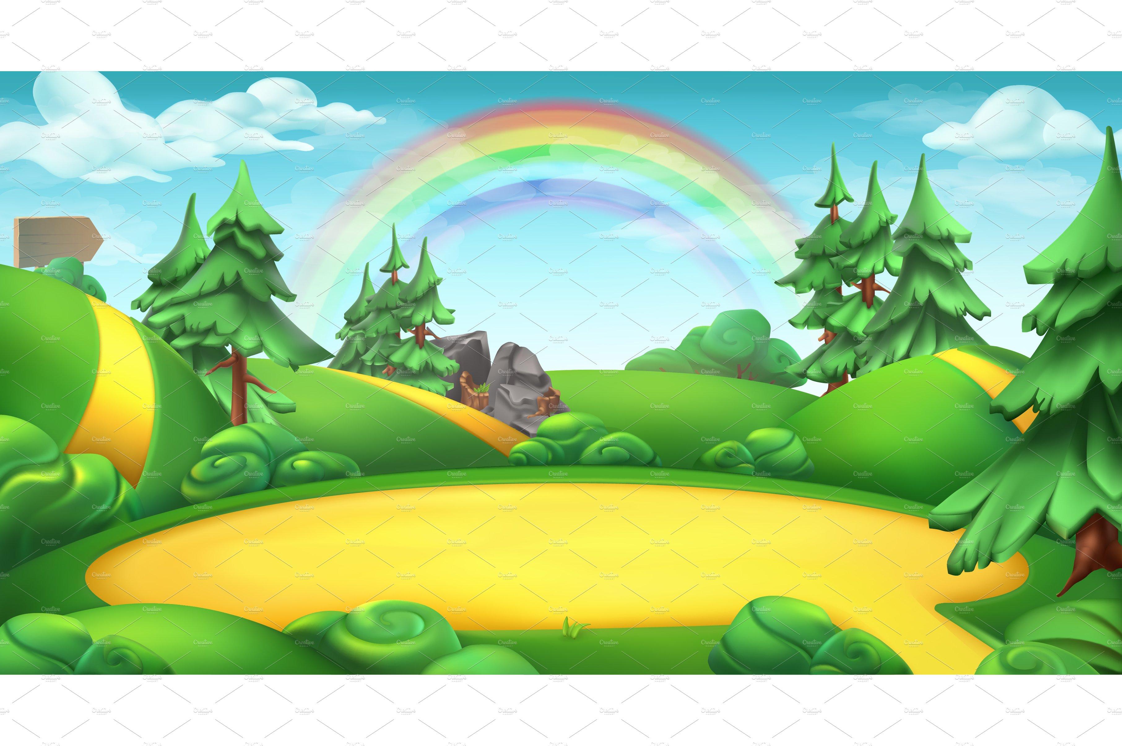 Nature landscape vector background ~ Illustrations ...