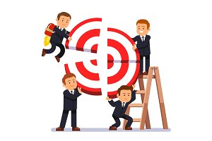 Businessman team building aim