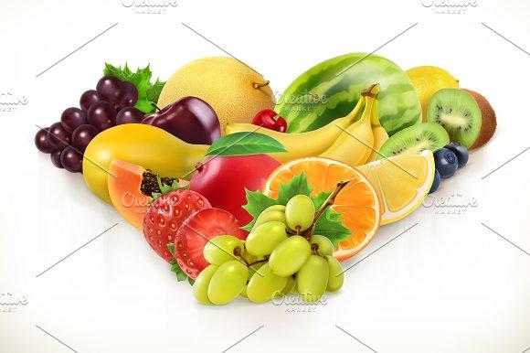 Grapes And Juicy Fruits Vector