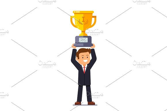 Business Leader Man Holding Winner Golden Cup