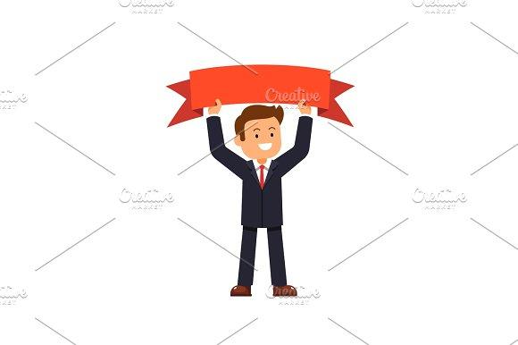 Business Man Holding Winner Red Ribbon