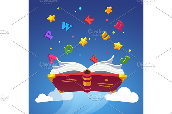 Magical Book Flying Scattering Alphabet Letters