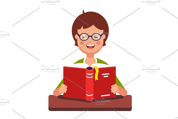 Young Boy Student Wearing Glasses Reading A Book