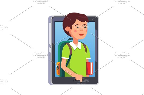School Boy Sticking Out Of Smartphone Screen