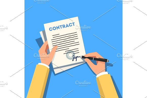 Hands Holding And Signing Business Contract Pape