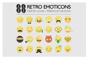 Retro / Hipster Emoticon Icon Set