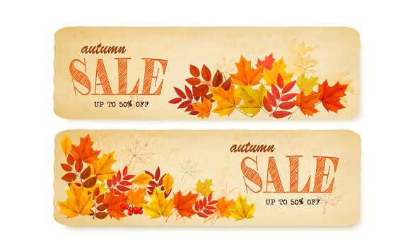 Set Of Two Autumn Sale Banners