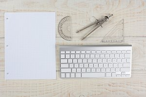 White Desk and Graph Paper