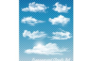 Set of white clouds. Vector