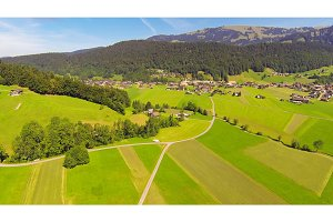 Aerial View Of A Village In The Austrian Alps