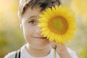 boy playing in sunflower field