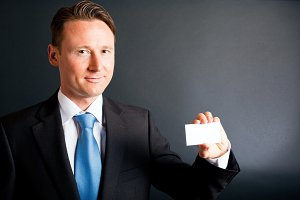 Business Man Showing His Card