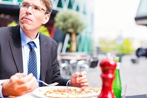 Businessman Having Lunch