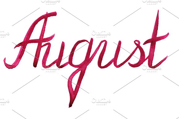 Watercolor August Word Lettering