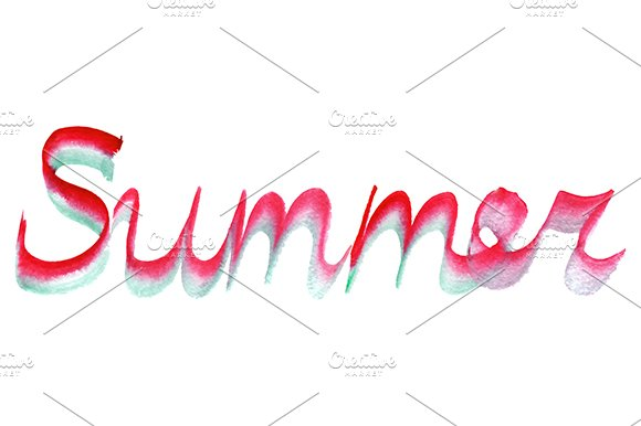 Watercolor Summer Word Vector