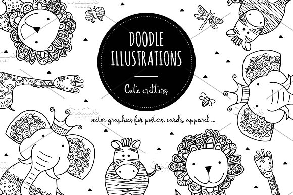 Doodle Critters Vector Illustrations