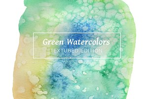 Green Textured Watercolors