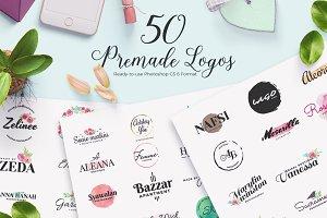 50 Premade Feminine Logos