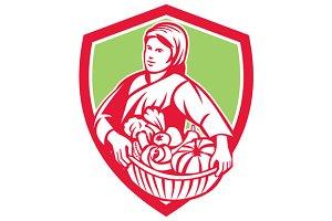 Female Organic Farmer Basket Harvest