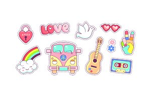 Hippie style icons and stickers