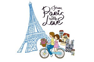 From Paris with love vector card