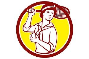 Female Tennis Player Racquet Vintage