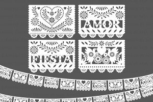 White Papel Picado / Fiesta Bunting