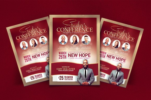 Speakers\'s Conference Flyer Template ~ Flyer Templates ~ Creative Market