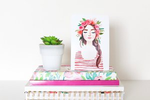 Art Print & Succulent On Books
