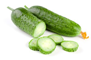 Sliced cucumber isolated on a white background