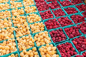 Red and yellow raspberries