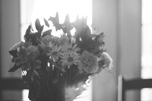 Hazy Black & White Flower Bouquet